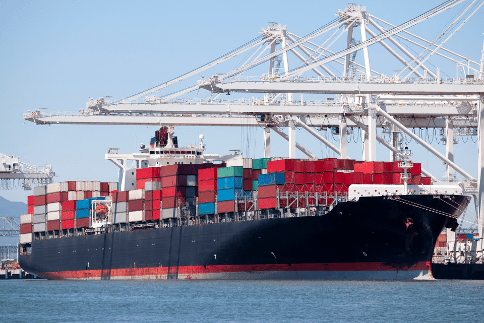 commercial ship with containers