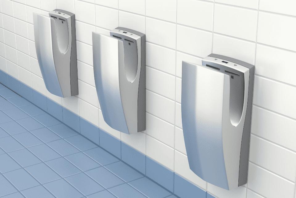 Air dryers installation in public restrooms