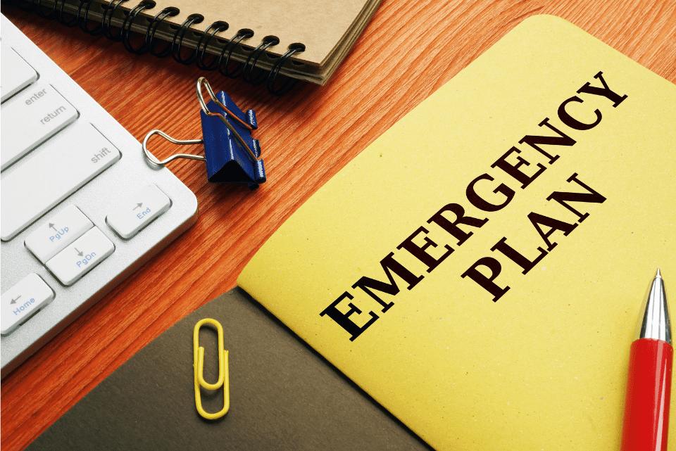 Emergency Plan folder on a desk